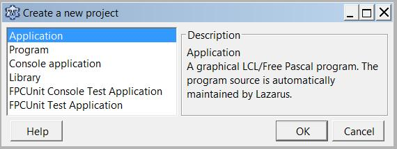 The Lazarus 'Create a new project' dialogue, with 'Application' selected