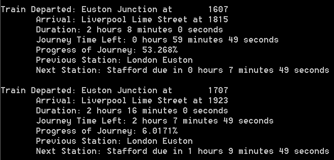 Screenshot showing details for two trains on route from Euston to Liverpool Lime Street